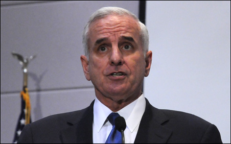 Gov. Mark Dayton outlined his budget at the Department of Revenue Building on Tuesday.