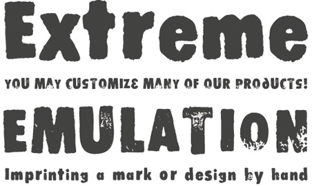 Stomper is a rubber stamp font Desmond created in 1997.
