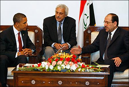 Sen. Barack Obama speaks with Iraqi Prime Minister Nouri al-Maliki, right, in Baghdad.