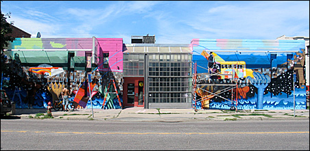 Mural covering the front of the Intermedia Arts gallery on Lyndale Avenue and 28th Street in Minneapolis.