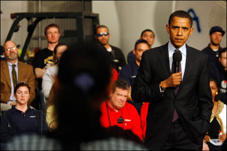Sen. Barack Obama answers questions while campaigning in Fairless Hills, Pa.