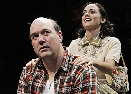 "John Carroll Lynch as Eddie Carbone and Robyn Rikoon as Catherine in Arthur Miller's ""A View from the Bridge."""
