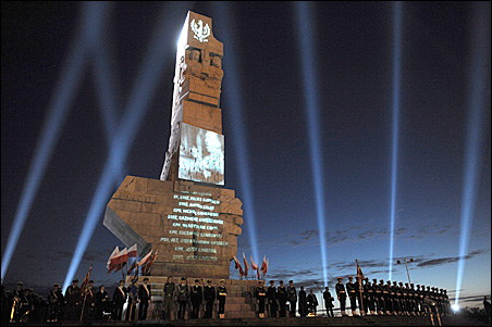 Soldiers stand guard today at the monument of World War II at Westerplatte, outside of Gdansk, Sept. 1, 2009.