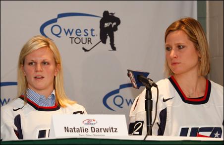 Natalie Darwitz, left, and Angela Ruggiero
