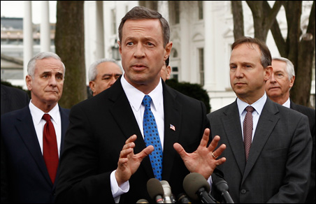 Maryland Gov. Martin O'Malley speaking with reporters Friday after a meeting with President Obama. Gov. Mark Dayton is at left.