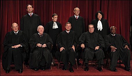 U.S. Supreme Court Justices gathered for an official picture in 2009.