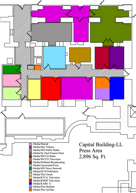 The main Capitol press room layout. The larger orange square is the disputed space.