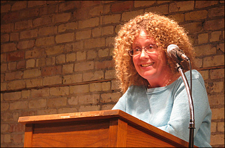 Laurie Hertzel reading from her new memoir Tuesday night at the Loft.