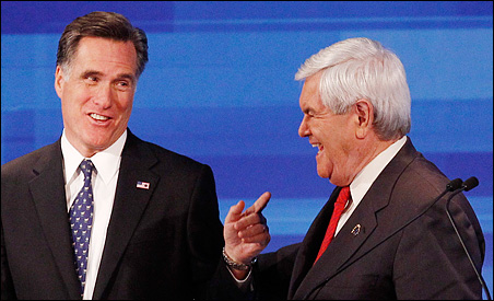 Mitt Romney and Newt Gingrich chatting at the conclusion of Thursday's debate.
