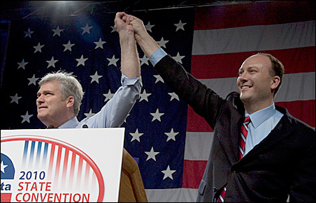 Rep. Tom Emmer and Rep. Marty Seifert share the stage following Emmer's endorsement.