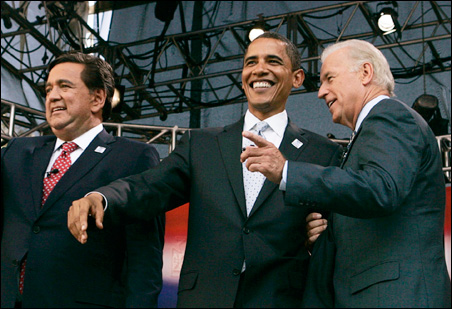 Barack Obama, center, with potential running mates New Mexico Gov. Bill Richardson, left, and Joseph Biden Jr. of Delaware last year in Chicago.