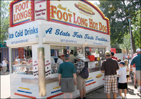 """This year, this State Fair hot dog stand is mixing its fixture, Walt """"Speedy"""" Spidahl."""