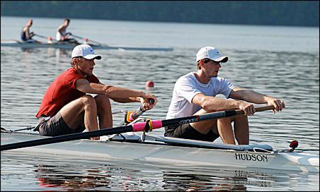 Matt Schnobrich, in red, and his pairs partner, Josh Inman, in recent trials.