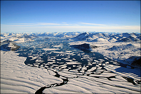 An undated photo provided by the Center for Northern Studies shows the Ward Hunt Ice Shelf, which has been disintegrating because of climate change, scientists say.