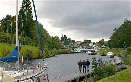 Fort Augustus and its Flight of locks on the River Oich, looking upstream from Loch Ness.