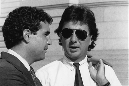 Pat Forciea, right, is pictured with campaign manager John Blackshaw at the state Capitol during a 1990 Wellstone campaign press conference.