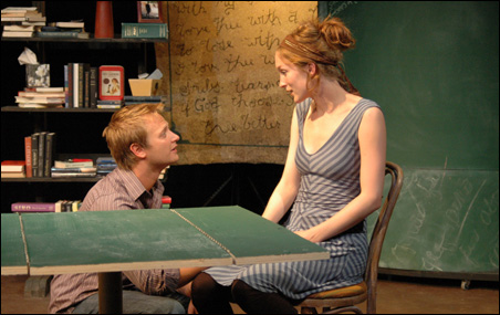 """Jessica Lind and Taylor C. Hays on stage in """"String."""""""