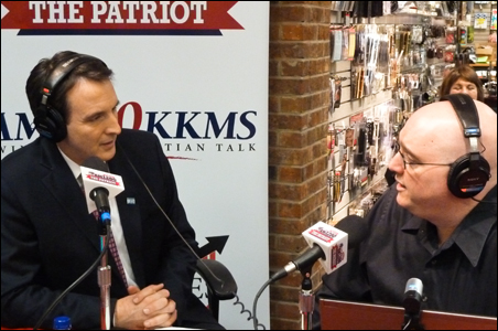 Pawlenty interviewed during a live broadcast on The Patriot radio station.