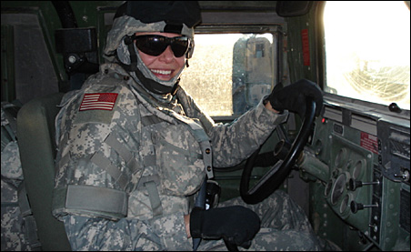 Lt. Col. Pam Mindt at Camp Scania in Southern Iraq, Dec. 2006.