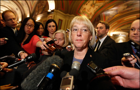 Supercommittee co-chair Sen. Patty Murray speaking to reporters.