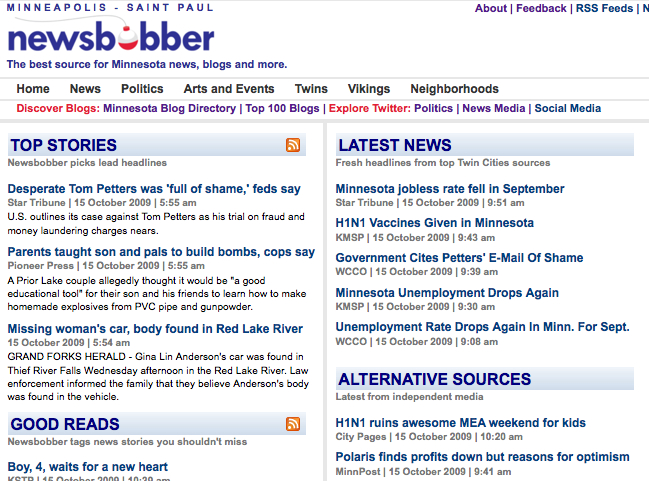 Newsbobber's home page, on Oct. 15