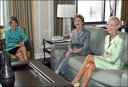 Gov. Sarah Palin meets with first lady Laura Bush and Cindy McCain on Tuesday.