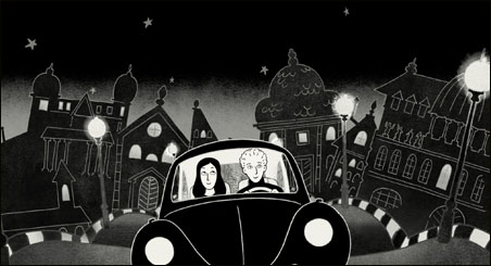 """The animated Marjane Satrapi (with friend in """"Persepolis""""), riding through Vienna but dreaming of Matt's and Minneapolis?"""