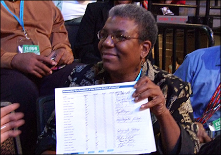 Minnesota delegate Matthea Little Smith revels in Wednesday's historic nomination of Barack Obama.