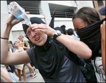 Pepper-sprayed protesters