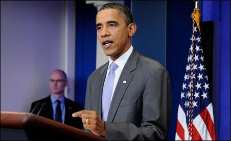 President Barack Obama talking about the debt ceiling crisis on Sunday.