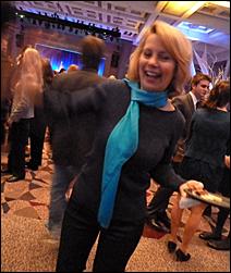 State Sen. Ellen Anderson, wearing her trademark turquoise scarf