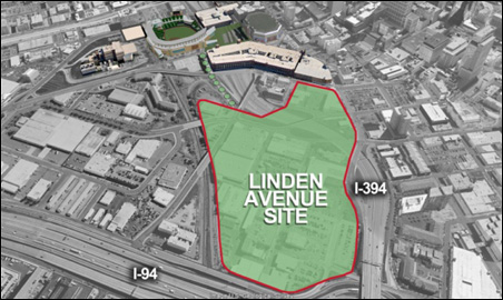 A map of the proposed Vikings stadium site behind the Basilica.
