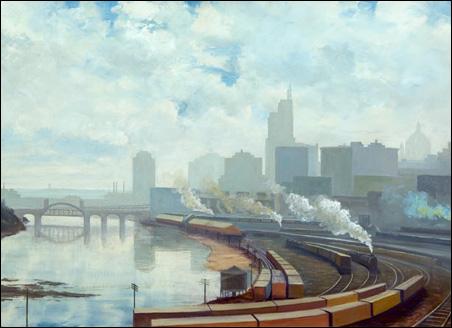 'Train Yard' by Sverre Hanssen, 1936, oil on canvas