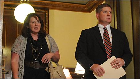 Senate Majority Leader Amy Koch and House Speaker Kurt Zellers leaving the governor's office Wednesday evening.