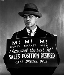 Leonard Olson wearing a sign advertising for a sales position, circa 1935.