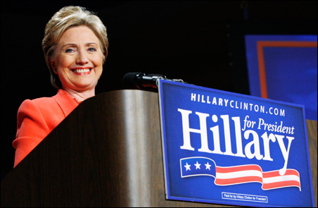 Sen. Hillary Clinton speaks at a primary night rally in Charleston, W.Va.