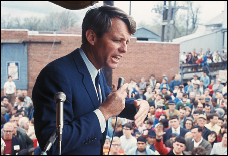 Robert F. Kennedy addresses a crowd in Nebraska on April 27, 1968.