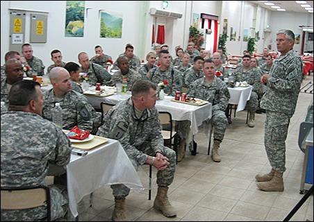 Gen. Casey meets with soldiers.