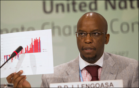 Deputy Secretary General of the World Meteorological Organization Jerry Lengoasa speaking during a news conference on Tuesday.