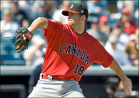 Team Canada starter Scott Diamond pitched against the New York Yankees during a MLB spring training exhibition game in 2009.