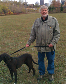 City Council Member Dave Thune and friend explore St. Paul's latest planned off-leash dog park, which will in his ward.