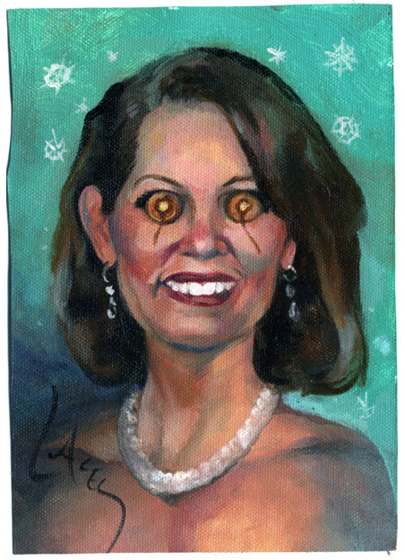 A Dan Lacey painting of Michele Bachmann with pancake eyes