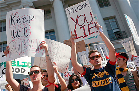 Students protest state budget cuts and tuition fee increases during a rally at the University of California Berkeley on Sept. 24, 2009.