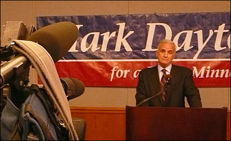 Mark Dayton complained today that GOP trackers were stepping over the bounds of propriety in following him around.