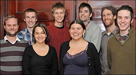 Left to right: Rob Czernik, Erik Oseland, Monica Bicking, Eryn Trimmer, Luce Guillen-Givins, Garrett Fitzgerald, Nathanael Secor, Max Specktor.