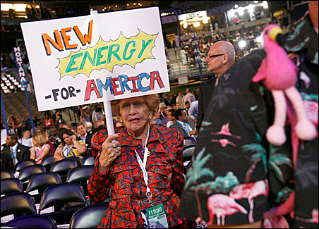 Florida delegate Matilda Garcia, 89, makes her views known during the opening session of the Democratic National Convention.