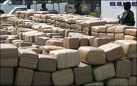 Soldiers guard packages of marijuana