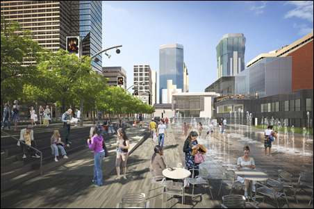 The opening date for the new Peavey Plaza will depend on the success of the fundraising drive.
