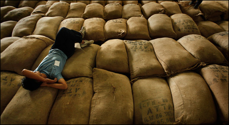 A World Food Program worker is shown sleeping on top of flour sacks intended for victims of the August 2010 Pakistan flood.