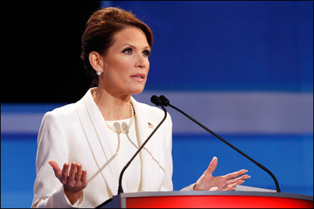 Rep. Michele Bachmann speaking during Thursday's Republican Party presidential debate.